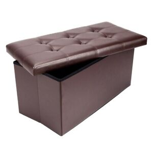 FCH PU Leather Footstool with Leather Footstool Brown 76*38*38cm