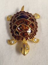 Gold Tone Turtle Brooch Signed *Preowned
