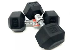 New Weider Hex Rubber Coated 30 lb Dumbbell Weight Set (60lbs) Total