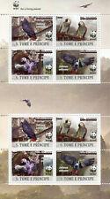 More details for sao tome & principe wwf stamps 2020 mnh grey parrots birds red ovpt 8v m/s