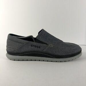 Crocs Santa Cruz Playa 204835 Men's Slip-On Canvas Loafers Gray Men's Size 9