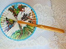 New listing Vintage Midget Folding Paper Fan - Floral and Horses and people Scene
