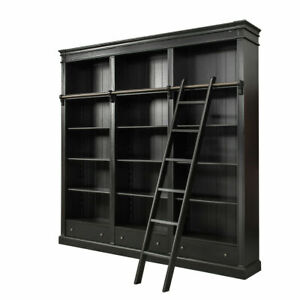 French Provincial Furniture Bookcase Bookshelves With Ladder Black