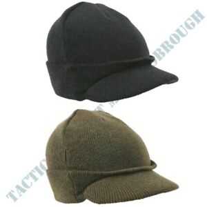 MENS ARMY STYLE PEAKED BEANIE HAT WW2 MILITARY HEADWEAR BLACK or OLIVE GREEN