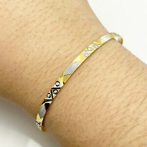 Solid 14k Yellow White Gold Bangle Bracelet (9306)