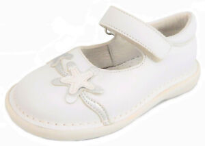 DE OSU-FARO - Girls White Leather & Silver Starfish Shoes - European 24 Size 7