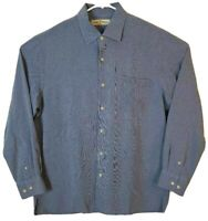 Tommy Bahama Mens Button Front Shirt Blue Long Sleeve 100% Silk Spread Collar L