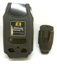 Body Glove Leather Case with Rotating Belt Clip for Samsung U660 Convoy 2, Black