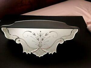 VTG Venetian Etched Mirror Wall Shelf Retro Mid Century Hollywood Regency Silver