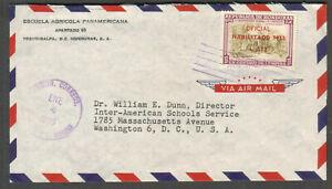 Honduras Jan 1956 oficial cover Escuela Agricola Panamericana Tegucigalpa to  DC