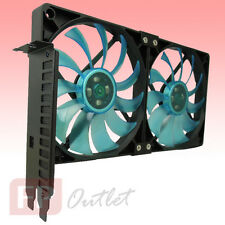 GELID PCI Slot Fan Holder 2x Slim Quiet 12cm UV Blue Case Mount VGA Card Cooler