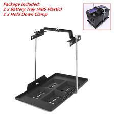 Adjustable Car Storage Battery Holder Tray+Hold Down Clamp Bracket Kit Black