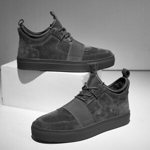 Mens Low Top Lace Up Casual Shoes Suede Creepers Platform Non-slip Trainers NEW