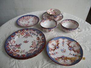 Utzschneider & Cie. 3 x Tee Gedeck 3 tlg. Jugendstil Sarreguemines blauer Dekor