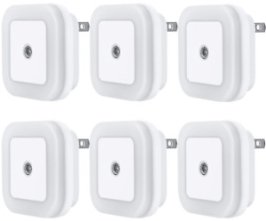 6 Pack LED Night Light Lamp with Smart Sensor Dusk to Dawn White 0.5W Plug in