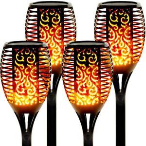 4er LED Flackernde Landschaft Tanzen Flamme Solar Fackel Lampen Garten Licht DE
