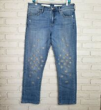 Anthro Pilcro and the Letterpress Sz 30 Slim Boyfriend Embroidered Jeans
