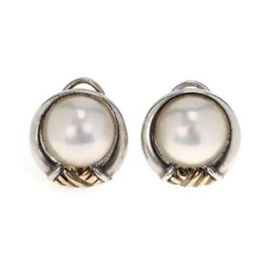Tiffany & Co Vintage Pearls 925 Silver 18k Gold Clip On Earrings LIQUIDATION