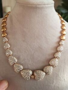 Vintage Hearts Gold Plated Diamonte Statement Necklace