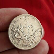MONNAIE 5 FRANCS 1962 SEMEUSE ARGENT TTB