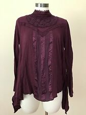 Free People Purple Lace High Neck Long Sleeve Top Sz M *4435