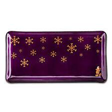 "DISNEY MICKEY MOUSE Glazed Purple Holiday Christmas Snowflake Tray 14"" NEW"