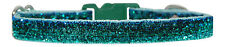 "fabric emerald green sparkle chihuahua dog/puppy collar 6""-8"" XS"