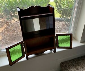 Antique Salesman Sample Solid Wood Commode Cabinet Stained Glass Doors