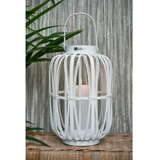 Riviera Maison Laterne Windlicht Marina Grande Lantern white L Holz 37 x 24 weiß
