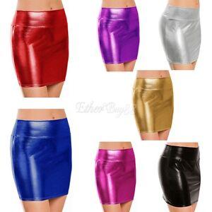 Women Sexy Shiny Leather Skirt High Waist Pencil Bodycon Clubwear Costume Dress