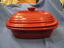 Pampered Chef Family Heritage Deep Covered Rectangle Stoneware BAKER Cranberry