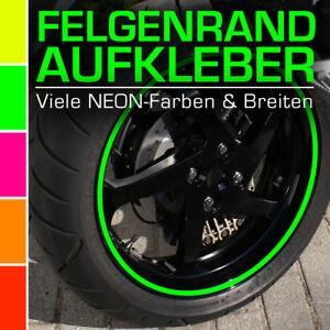 NEON Felgenrandaufkleber 12 mm für Auto Motorrad Wohnmobil Wohnwagen Grün Rot