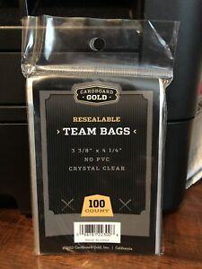 Cardboard Gold Team Bags Resealable Sleeves 1 Pack of 100