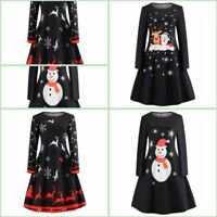 Cocktail Evening Party Winter Christmas Long Sleeve Tunic Dress Dresses Floral