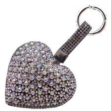 Taschenanhänger Schlüssel Anhänger mit Glitzer Strass Herz Kristall Silber A55