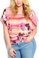 ZENOBIA Women's Sheer Top Pink Floral Striped Kimono-Sleeve PLUS SIZE 3XL