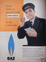 PUBLICITÉ 1958 GAZ DE FRANCE GDF LE GAZ EN THERMIES - ADVERTISING