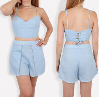 Womens Two Pieces Co-ord Summer Hot Pants Crop Tops Shorts Set Celeb Jumpsuit