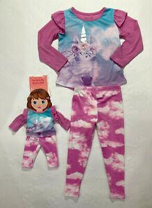 St. Eve Girls Pink Lavender Unicorn Pajamas with Matching Doll Pajamas Set