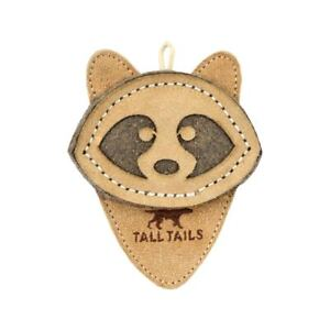 """Tall Tails 4"""" SCRAPPY RACCOON Natural Leather/Wool Dog Toy"""