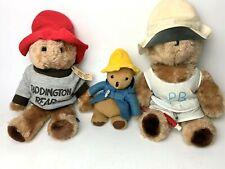 Vintage Lot 3 EDEN 1981 Plush Paddington Bear Teddy Bears - Rare Visor & Whistle