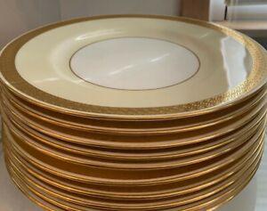 10 Minton for Tiffany Dinner Plates Gold Leaf #H4265, c1900