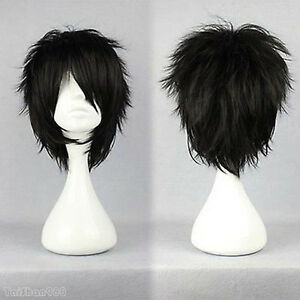 New Fashion Black Short Straight Synthetic Women Girl Cosplay Hair Wig Wigs +Cap