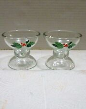 1981 Vtg Avon Holiday Hostess Collection Glass Candlestick Candy Dish Holders
