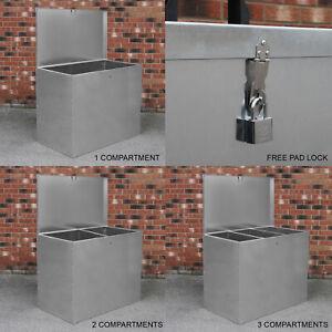 Large Feed Bins Storage 64L Galvanised Metal Waterproof Outdoor Animal Lockable