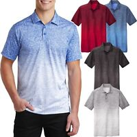 Mens Moisture Wicking Polo Shirt Heather Ombre DriFit XS S M L XL 2XL 3XL 4XL