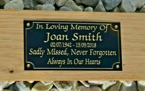 SOLID BRASS BLACK MEMORIAL BENCH PLAQUE GRAVE SIGN PERSONALISED ENGRAVED