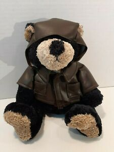 SOOOO cute! Adorable black & tan bear with Boeing jacket and aviator hat &scarf