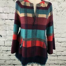 Anthropologie HWR Monogram Women Cardigan Sweater Multicolor Plaid Wool ZipUp XS