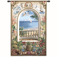 "A ROOM WITH A VIEW BEACH COASTAL SHELL SAILBOAT COAST TROPICAL 80"" WALL TAPESTRY"